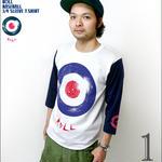 a08bbt - ROLL ( ロール ) 3/4スリーブ ベースボールTシャツ - LPR -G-( ターゲット モッズ アメカジ アナログ盤 7分袖 )