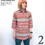 2weekセール☆ sh74505-rd12 - ネイティブ ボーダー 5分袖 ワークシャツ ( レッド ) - VINTAGE EL -G-( カジュアル ハーフスリーブ アメカジ )