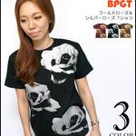 2weekセール☆ sp067tee - ゴールドローズ & シルバーローズ Tシャツ -G- バラ 薔薇 フラワー 花柄 きれい かわいい 半袖