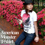 tgw033tee-rd - American Monster(red apple) Tシャツ -G-( パンク ロックTシャツ 林檎 リンゴ アップル )