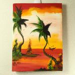 一点物!ジャマイカ ペイント EIAINE WAIARY 夕日&ヤシの木(ジャマイカ絵画)