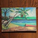ジャマイカ ペイント 海、ボート、ヤシの木  A.STEPHENSON(ジャマイカ絵画)