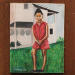 ジャマイカ ペイント D.HINES 少女(ジャマイカ絵画)