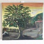 ジャマイカ ペイント D.BRAMAN  アキの木、夕日&ラスタマン(ジャマイカ絵画)