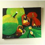 ジャマイカ ペイント A.Stephenson アキ&ブレッドフルーツ(ジャマイカ絵画)