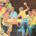 特大ジャマイカ ペイント A.Stephenson ドミノ(ジャマイカ絵画)