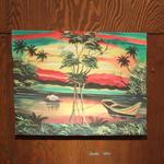ジャマイカ ペイント 夕日  ボート A.STEPHENSON(ジャマイカ絵画)