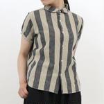 ichi / コットンリネン ストライプ シャツ