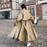 【EruMon】フレアトレンチコート ドレスコート オーバーコート ロングコート ロングトレンチコート
