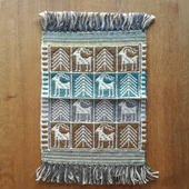ヤノフ村の織物 タペストリー 鹿と木 #1091