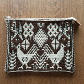 ヤノフ村の織物 ポーチ ニワトリと幾何学模様 #1266