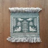 ヤノフ村の織物 タペストリー 森の中の鳥 #943