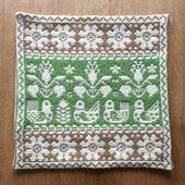 ヤノフ村の織物 クッションカバー 鳥と植物文様(39×39cm) #1273