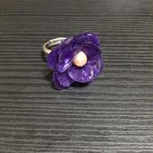 和紙の花 紫菫のリング