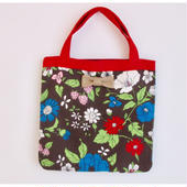 small tote special 70's flower brown