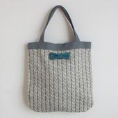 medium tote summer fake knit grey