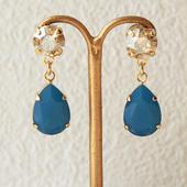 2color bijou pierce(ゴールデンシャドー×カリビアンブルー)