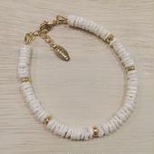 shell×metalparts bracelet(white)