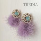 bijou×mink fur earring(smoky purple)