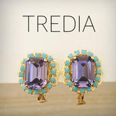 square moroccocolor earring(purple×turquoise)