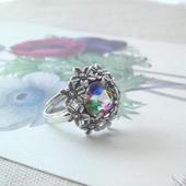 アンティーク アイリスグラス Silver925Flower指輪