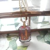 アンティーク ルルド聖母マリア Octagonalグラスインタリオネックレス