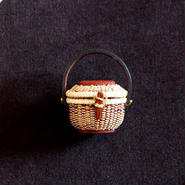 Nantucket Basket 1.5inch Oval with lid 臙脂