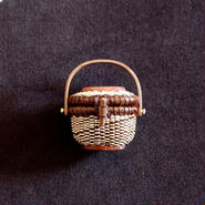 Nantucket Basket 1.5inch Oval with lid 茶