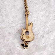 【ウッド ギター チャーム 黒猫☆ ネックレス】