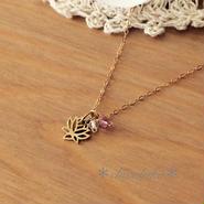 イタリア製ブロンズ*蓮の花ネックレス