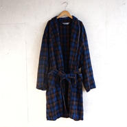 Vintage wool check gown navy