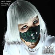 D/3/ディースリー CYBER MASK (サイバーマスク 黒×緑)