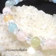 ミックスベリル&水晶ブレスレット