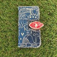 デニムクジラ刺繍スマホケース(iphone6/6s、7用)