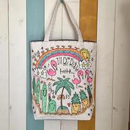 ハワイアン刺繍リバーシブルトートバッグ(M)