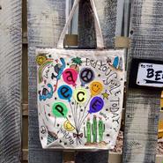 バルーンPEACE刺繍リバーシブルトートバッグ(M)