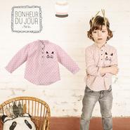 BONHEUR DU JOUR 刺繍入りボーイズシャツ(16123)