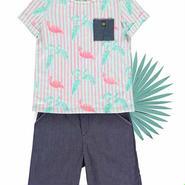 BLUNE トロピカルなフラミンゴ柄Tシャツ (15122)