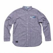 【RIP CURL】PARMプリント切り替えポケット シャンブレーボタンダウンシャツ W01-100