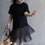 ★チュールデザインTシャツワンピース★Black