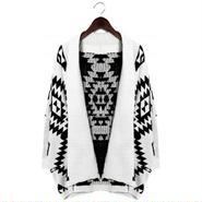 Chicwish シックウィッシュ ニット カーディガン Aztec Open Knit Cardigan white ホワイト レディース 長袖 事務 おしゃれ 柄 秋 冬 ブランド