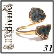 LuxDivine ラックスディバイン 31 高級感 誕生石 アメリカ ブランド ターコイズ トルコ石 リング ゴールド アーム パワーストーン 天然石 アクセサリー 指輪