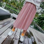 ピンクプリーツスカート