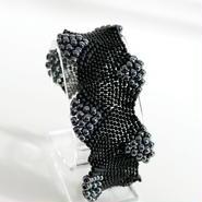 ビーズブレスレット - wavy black beads bracelet
