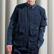【wisdom】Multi Pocket Splicing T-Shirts(NAVY)/ ウィズダム マルチポケット Tシャツ(ネイビー)