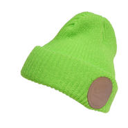 LEATHER PATCH MC RIBBED WATCH CAP NEON