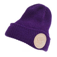 LEATHER PATCH MC RIBBED WATCH CAP PURPLE