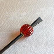 蜜柑玉 紅 蜻蛉玉簪(とんぼ玉かんざし)