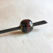 黒玉 火焔紋 蜻蛉玉簪(とんぼ玉かんざし)