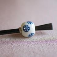 白玉 丸紋 蜻蛉玉簪(とんぼ玉かんざし)